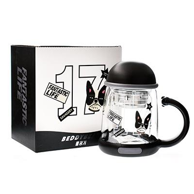韩国杯具熊 双层玻璃杯/泡茶水壶(320ml)法斗-配礼袋