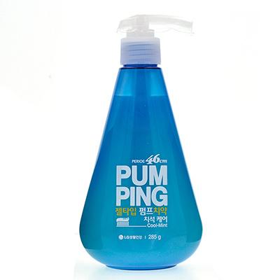 韩国LG PUM PING 新概念可爱按压式蓝色牙膏(285g)