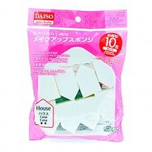 日本大创DAISO 干湿两用粉扑化妆海绵(10枚)五角形屋型