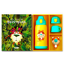 韩国杯具熊 三盖礼盒款儿童吸管保温杯/保冷水壶(630ml)虎-配礼袋