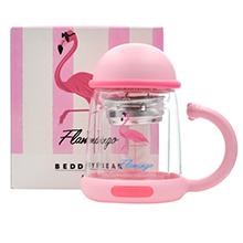 韩国杯具熊 双层玻璃杯/泡茶水壶(320ml)火烈鸟-配礼袋