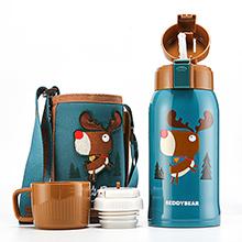 韩国杯具熊 3D复古浮雕儿童吸管保温杯/保冷水壶(600ml)麋鹿-配礼袋