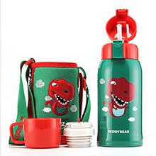 韩国杯具熊 3D复古浮雕儿童吸管保温杯/保冷水壶(600ml)恐龙-配礼袋
