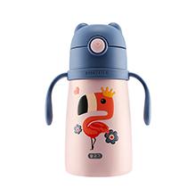 韩国杯具熊 儿童小号带手柄学饮保温杯(300ml)火烈鸟-配礼袋