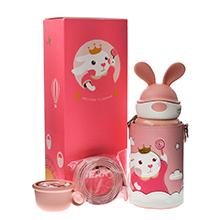 韩国杯具熊 定制款儿童保温杯耳朵杯(600ml)粉色兔飞飞-配礼袋