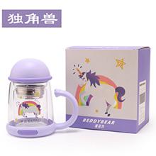 韩国杯具熊 猫咪双层玻璃杯/泡茶水壶(320ml)独角兽