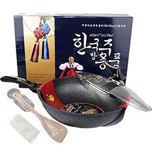 韩国Kitchen art 30cm 两用不粘炒锅蓝色礼盒装(1个)