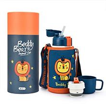 韩国杯具熊 3D复古浮雕儿童吸管保温杯/保冷水壶(600ml)新复古狮子-配礼袋
