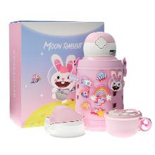韩国杯具熊 洞洞杯套儿童水壶/保温杯(630ml)登月兔-送礼袋